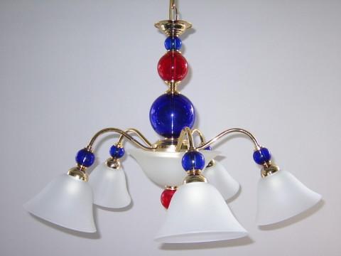 Glaskrone blau rot Mundgeblasen