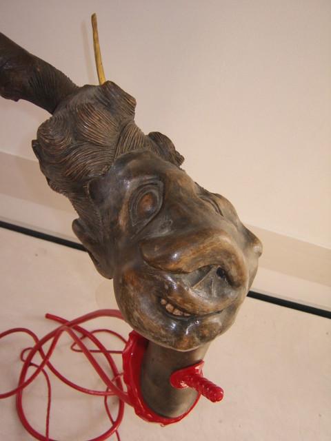 Holz/Metallskulptur Neandertaler und Mammut